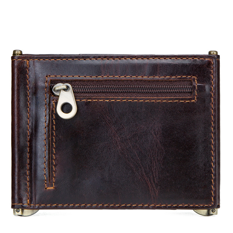 2019 New Vintage Genuine Leather Casual Solid Unisex Card Holder Multi-card Position Vintage Card Wallet Coin Purse