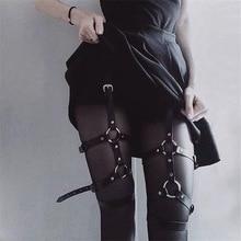 Punk Gothic Sexy Women Garter 2019 New Fashion Pu Leather Buckle Suspenders Harajuku Streetwear Grunge Style Black Garter Female