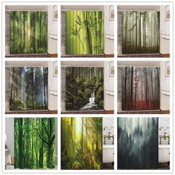 Juego de cortinas de ducha de estilo nórdico bosque brumoso con ganchos,...