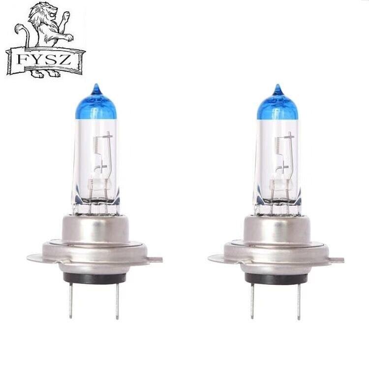 2Pcs H7 12V 55W 2400lm 4300-5000K Auto Headlights  Head Lamps Super Bright Halogen Headlights White - Blue + Silver