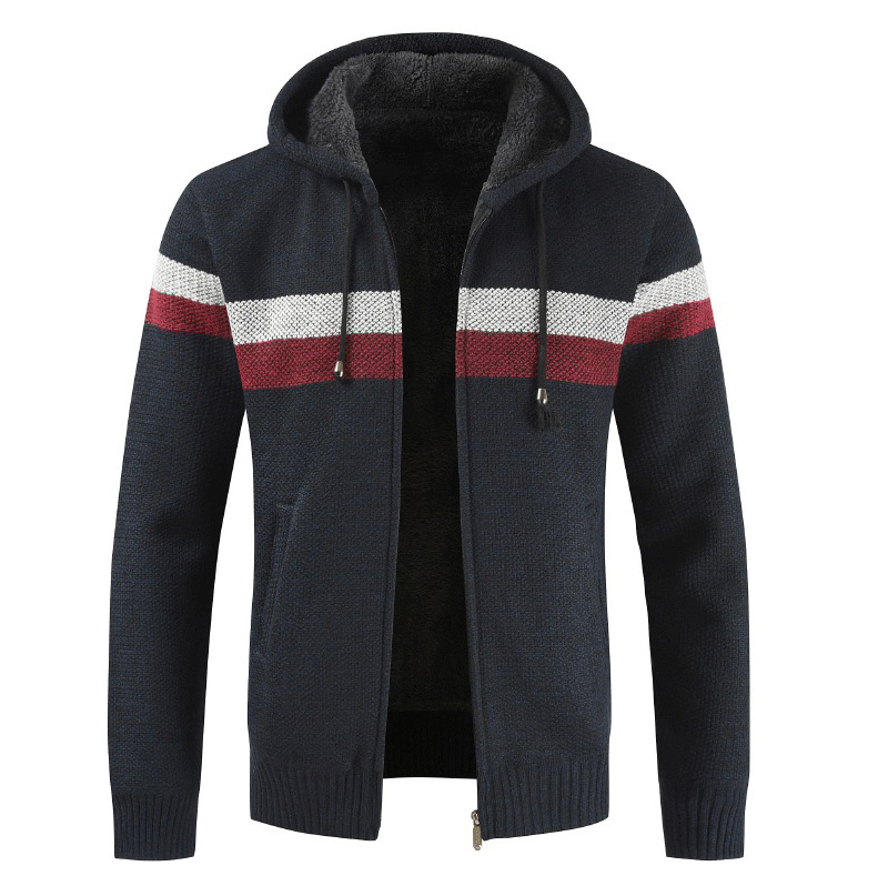 JODIMITTY Sweater Coat Men 2020 Winter Thick Warm Hooded Cardigan Jumpers Men Striped Cashmere Wool Liner Zipper Fleece Coat Men
