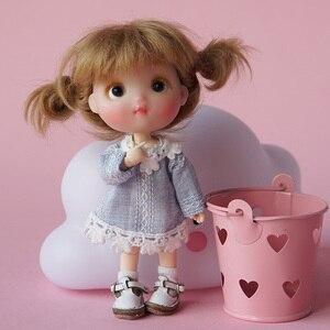 Bonito mini ob11 azul rosa laço vestido roupa para obitsu11 1/12 bola articulada bonecas acessórios de roupas crianças presente aniversário