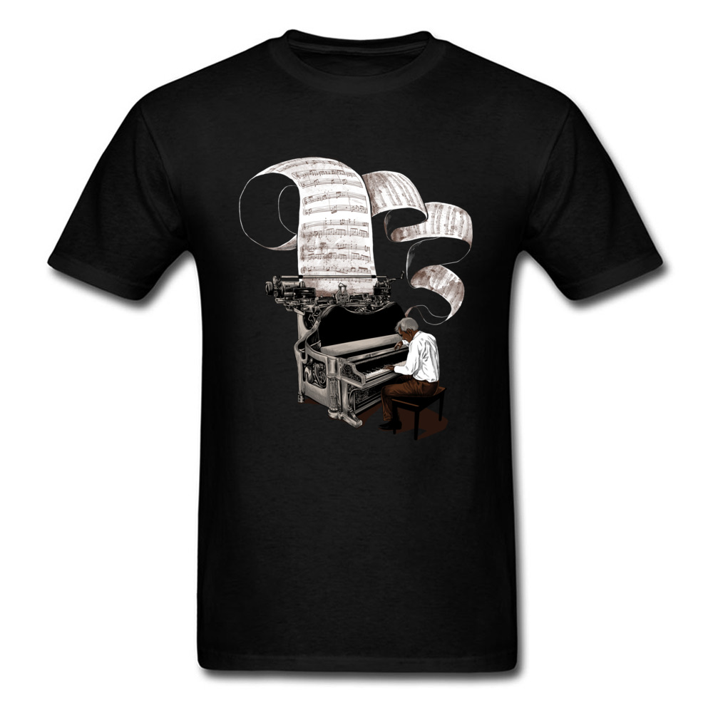 T-shirt For Composer Men T Shirt Music Note Tops Piano Pianist Clothing Classic Tees Art Designer Tshirt Cotton Black Tee image