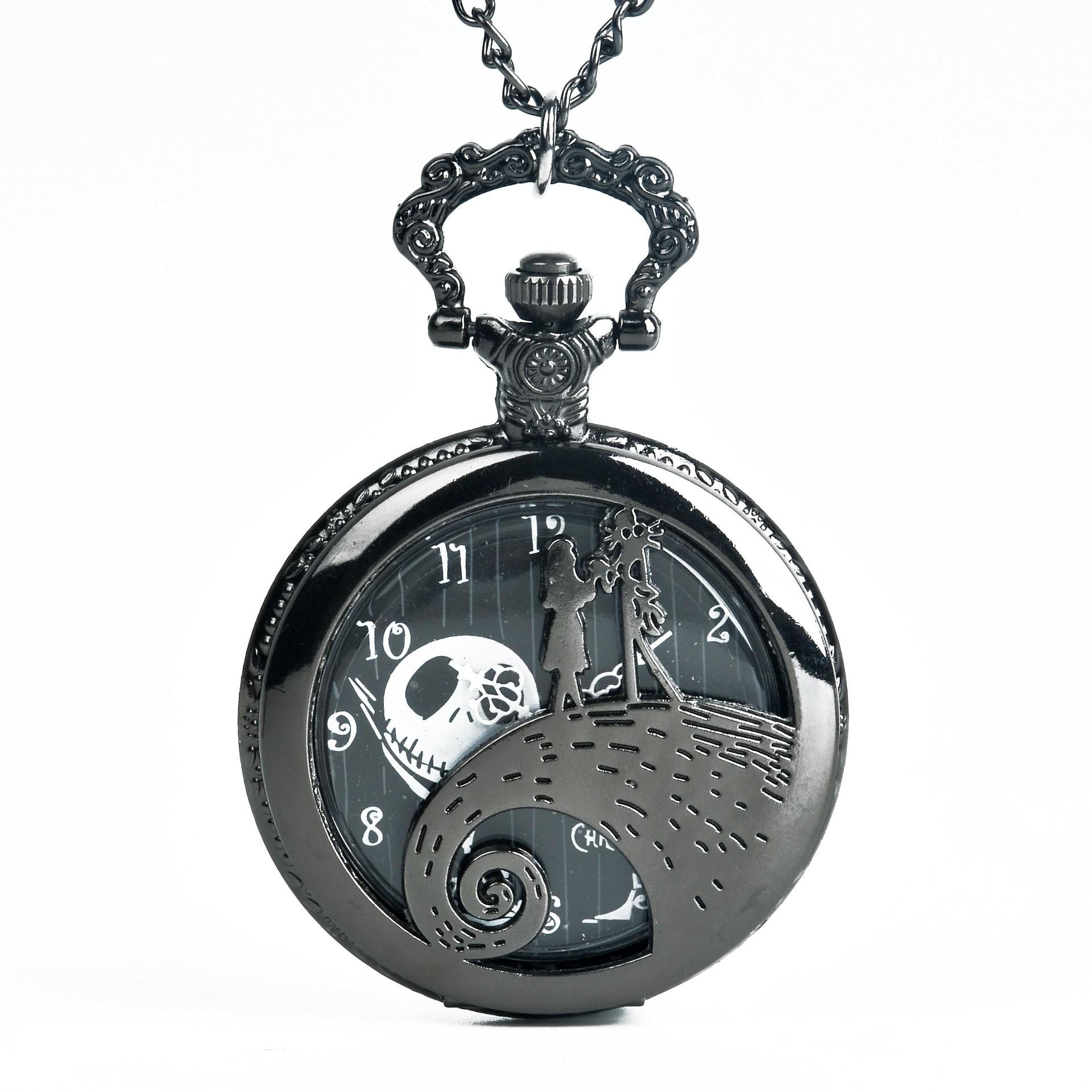 9003Silver/Black/Bronze The Nightmare Before Christmas Pocket Watch Jack Skellington Tim Burton Movie Kid Pendant Necklace Clock