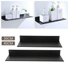 30/40cm Storage Rack Space Aluminum Wall Shelf Bathroom Kitchen Bedroom Living Room Home Hotel Thickened Organizer Black