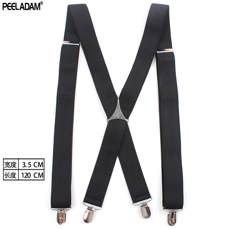 Adult Suit Pants Suspender Strap Clip 3.5 Centimeter Black And White With Pattern X Suspenders Multi-color 4 Clip Men Suspender