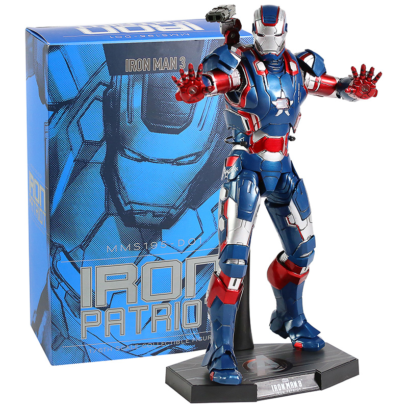 Hot Toys MMS195-D01 Iron Man 3 Iron Patriot 1/6th Scale Collectible Figure Model Toy with LED Light
