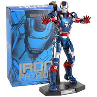 Hot Toys MMS195 D01 Iron Man 3 Iron Patriot 1/6th Scale Collectible Figure Model Toy with LED Light