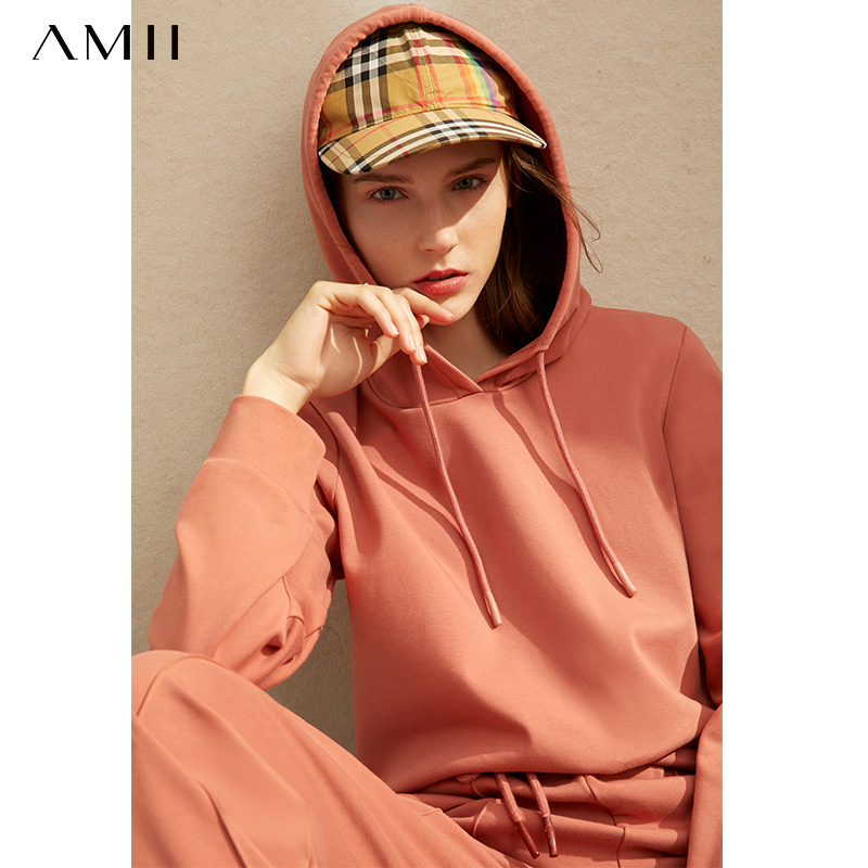 Amii Women Spring Two Piece Set Casual Hooded Loose Sweatshirt Wide Leg Pants Female Suits 11920276
