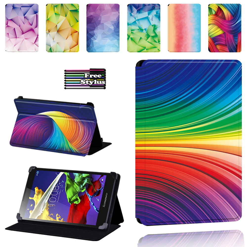 For Lenovo Tab 2 A7/A8/A10-70/Tab 3/Tab 4 PU Leather Tablet Foldable Dust-proof Protective Case Watercolor Pattern + Stylus