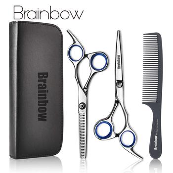 Brainbow-nożyczki do przycinania włosów 6 cal do salonu fryzjerskiego przyrząd do obcinania przerzedzania stylizacji włosów ze stali nierdzewnej płaskie zęby tanie i dobre opinie COMBO STAINLESS STEEL CN (pochodzenie) 17cm(6 69inch) Nożyczki do cięcia Hair Tools-BHT002 Nożyczki do włosów 4cr13