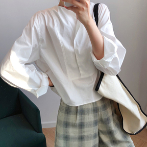 Image 2 - CHICEVER Korean Casual Shirt For Women Square Collar Lantern Sleeve Large Size Loose Blouse Female 2020 Autumn Fashion New
