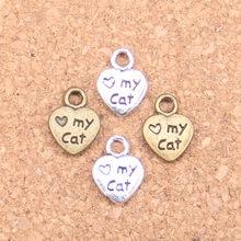 240 pçs encantos coração amor meu gato pata 12x9mm pingentes antigos, vintage tibetano prata jóias, diy para pulseira colar