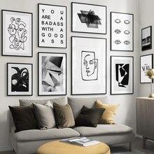 Abstrato geometria linha olho citações nórdico cartaz da parede do vintage impressão da arte da lona quadros de parede para sala estar decoração