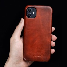 Full Grain Cowhide Leather Back Cover For iPhone X XR XS 11 Pro Max 5.8 6.1 6.5 Real Genuine Retro Vintage Business Phone Case