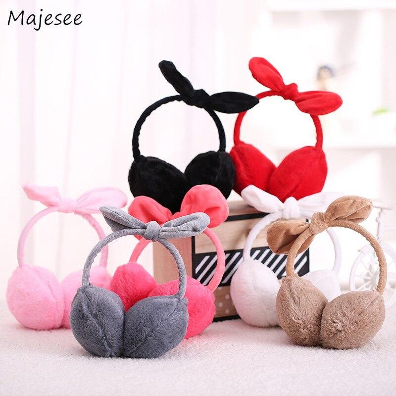 Женские наушники, Kawaii, зимние, теплые, одноцветные, с ушками животных, розовые, милые, для девочек, простые, корейский стиль, женские, мягкие