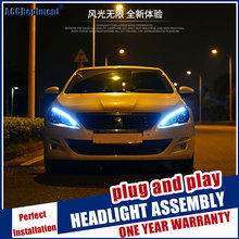 Headlights For Peugeot 408/308S 2015 2016 LED/Xenon Low Beam High Beam LED daytime running light sequential turn signal 1 Pair