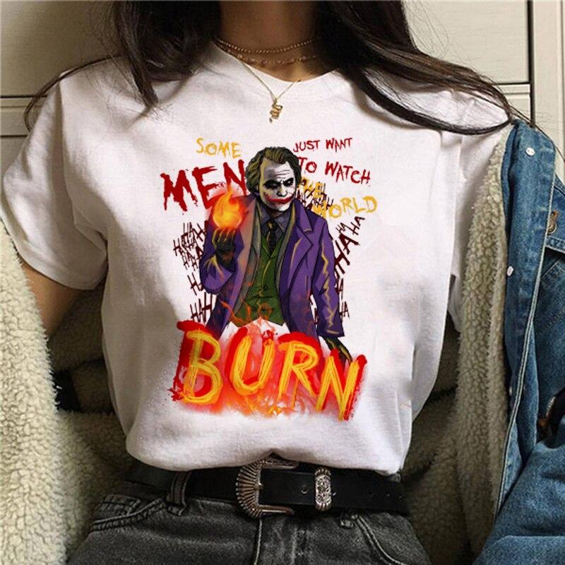 2019 Joker Tshirt White women TShirt New Summer Casual Harajuku Aesthetics T-shirts Joaquin Phoenix Joker Movie Tee Shirt