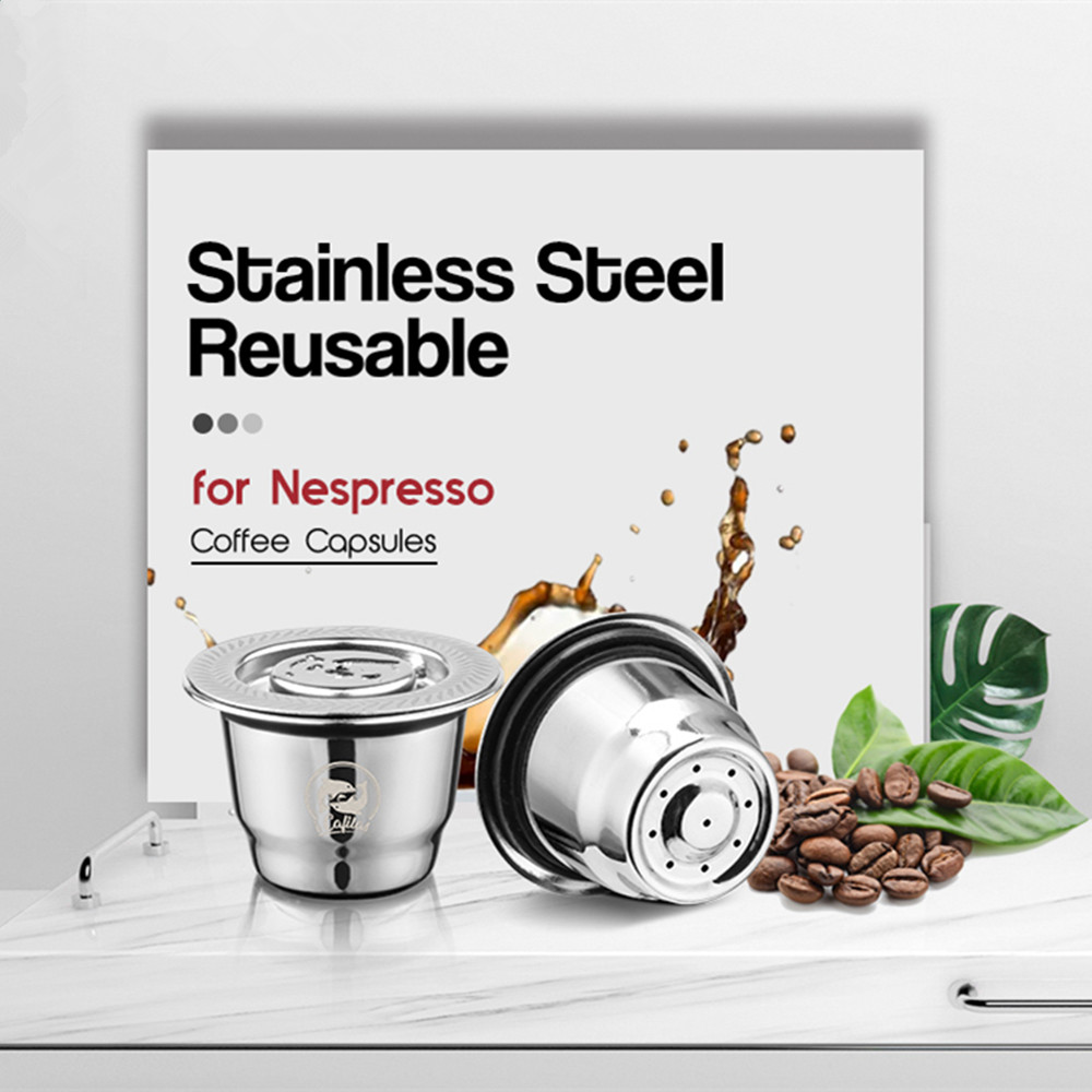iCafilas Coffee Capsule Pods For Nespresso Stainless Steel Coffee Tamper Refillable Reusable Coffee Filters For Nescafe Machine(China)