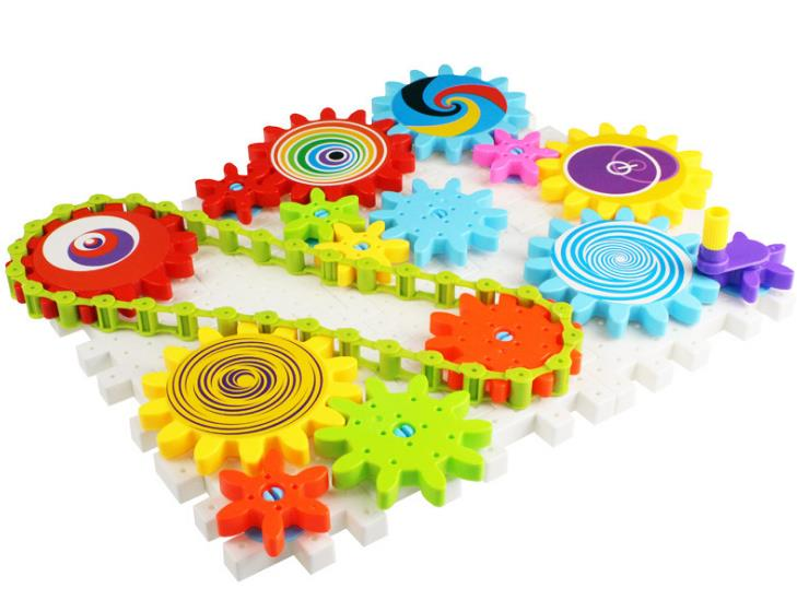 Children's Plastic Building Blocks Toys Gear Blocks Toys Kids DIY Creative Educational Toy For Children Birthday Gift