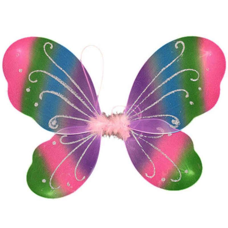 42 ซม.ผู้ใหญ่เด็ก Fairy Pixie Wing Multicolor ผีเสื้อขนาดใหญ่เครื่องแต่งกายสีแดงสีเขียวสีม่วงสีเหลืองสีชมพู Rose RED