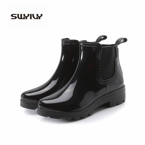 Image 2 - SWYIVY Chelsea Boots Women Ankle Rain Boots 2019 Autumn Fashion Waterproof Non slip Gumd Boots Women Casual Shoes Rainboot
