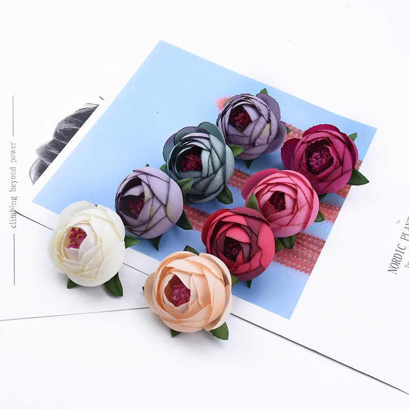 2/5/10 Stuks Thee Rozen Hoofd Diy Geschenken Snoep Box Scrapbook Wedding Decoratieve Bloemen Bridal Home Decor Goedkope Kunstmatige bloemen