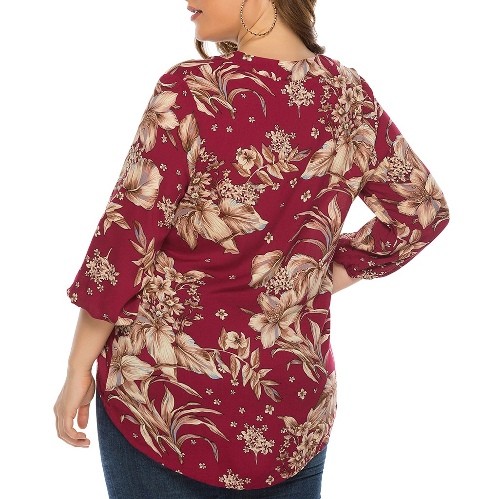 women t shirt autumn and winter long sleeves print Womens Plus Size V Neck Floral Print Ladies Front Short Back Long Sleeve Top in T Shirts from Women 39 s Clothing