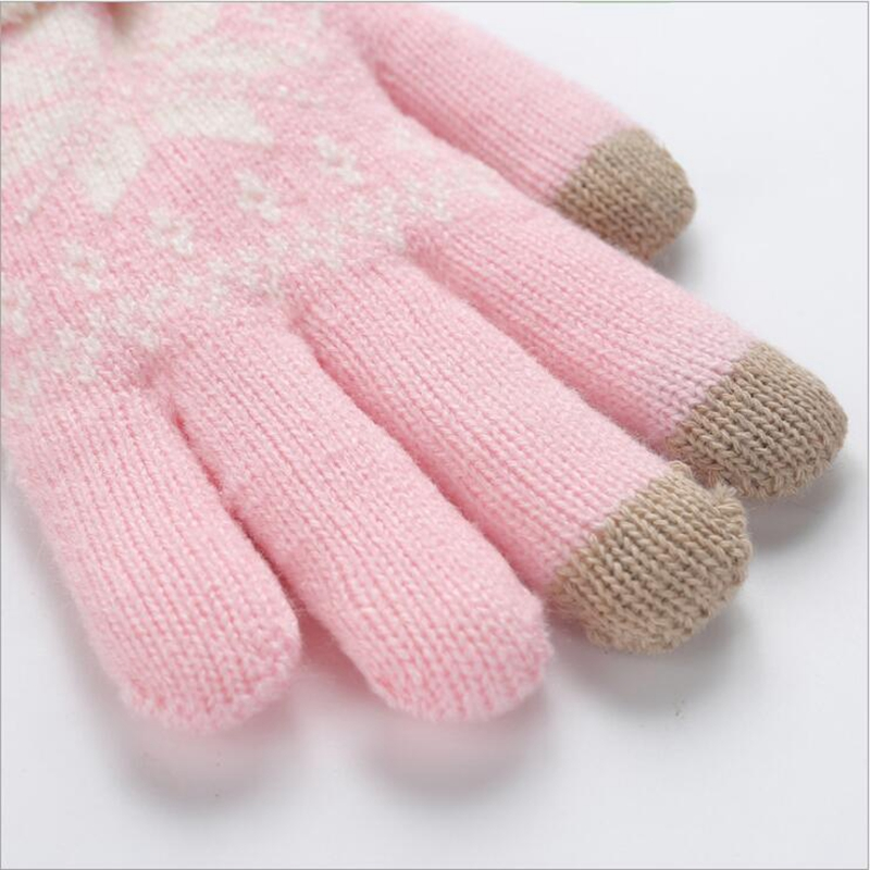 Lingwave Winter Ladies Knit Gloves Touch Screen Snowflake Pattern Gloves Knitted Thicken Warm Full Finger Soft Stretch Mittens