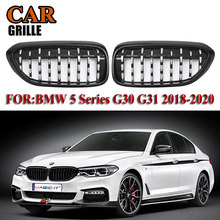 MagicKit Replacement G30 Front Bumper Grill For BMW 5 Series M5 G31 520i 530i 540i ABS Chrome Black Diamond Front Kidney Grille for bmw g30 m5 style kidney abs plastic black and m colour auto car styling front racing grill grille for bmw g30 new 5 series