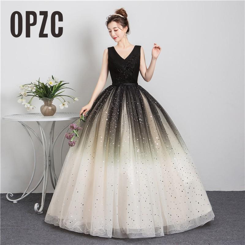 2021 New Style Black Matching Fashion V-Neck Quinceanera Dress Graduation Dress With Sleeve Formal Performance Sequins Ball Gown