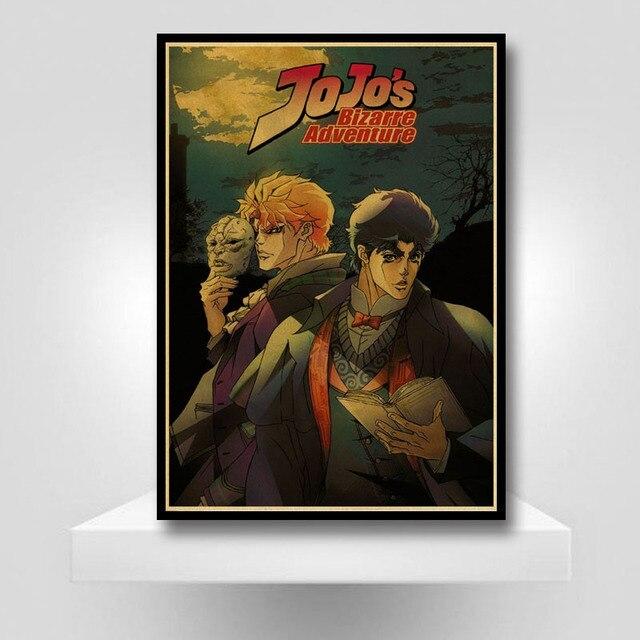 Classic Anime JoJo's Bizarre Adventure Poster Retro JOJO Anime Poster Wall Art Painting for Living Room Bar Cafe Decor 3