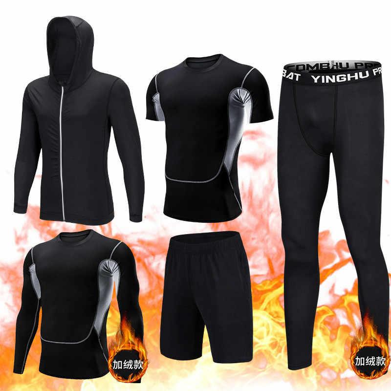 5 Teile//satz Männer Trainingsanzug Gym Fitness Kompression Kleidung Lauf Sport