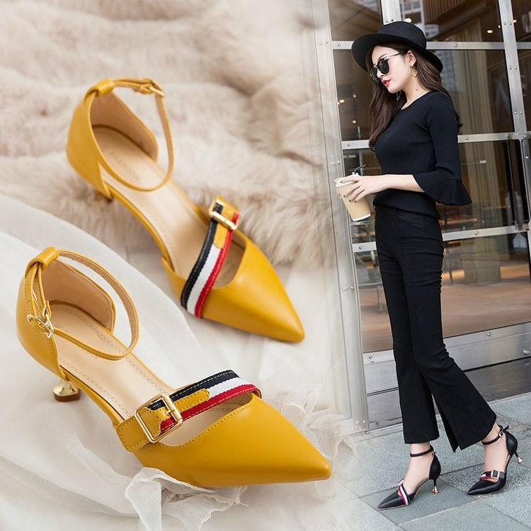 Version Of The Fashion Pointed Shallow Mouth Buckle High Heels Sexy Word With Sandals Fine With Professional OL Women's Shoes