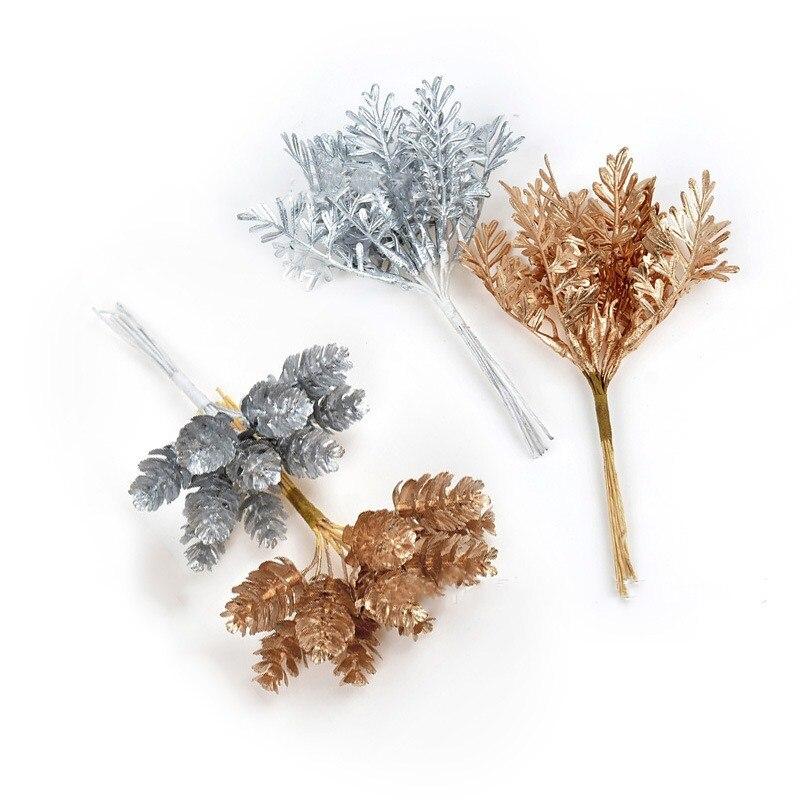 10 шт. рождественские украшения, аксессуары, золотые, серебряные, сосновые листья, сделай сам, Подарочная коробка ручной работы, украшение, ис...
