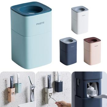 Automatic Toothpaste Dispenser Dust-proof Toothbrush Holder Wall Mount Stand Bathroom Accessories Set Toothpaste Squeezers Tooth automatic toothpaste dispenser dust proof toothbrush holder wall mount stand bathroom accessories toothpaste squeezers tooth b4