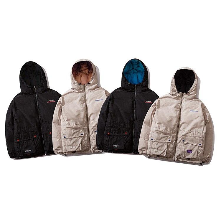 Men Hip Hop Winter Hooded Jacket Reversible 2019 Streetwear Gradient Color Padded Parka Harajuku Puffer Coat Windbreaker HZ477