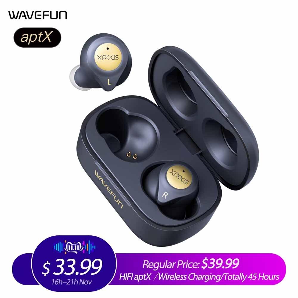 Wavefun XPods 3T Bluetooth écouteur aptX HIFI casque sans fil charge entraînement casque totalement 45 heures de musique avec micro