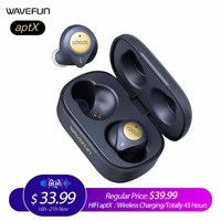 Wavefun XPods 3T Bluetooth Earphone aptX HIFI Headphones Wireless Charging Workout Headset Totally 45 Hours Music Time with Mic