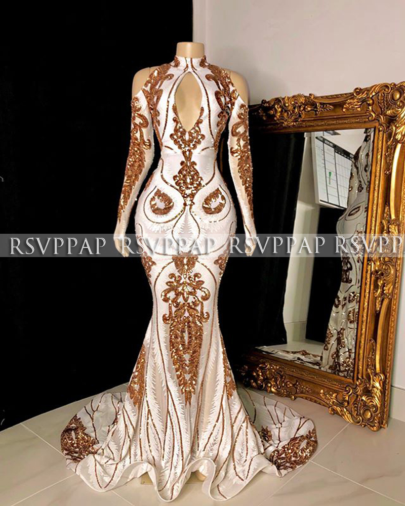 New Arrival Long Prom Dresses 2020 Sexy Long Sleeve High Neck Gold And White Black Girl Mermaid Women Sequin Gala Prom Dress