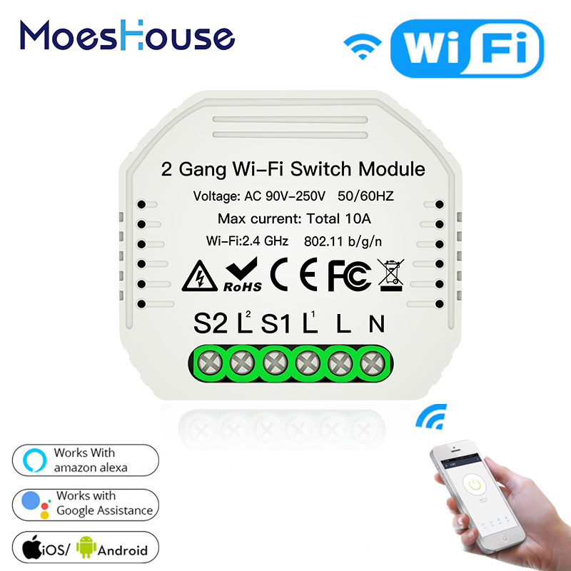 2 Gang 2 Way Wifi Smart Light Switch Diy Breaker Module Smart Life/Tuya APP Remote Control,Working With Alexa Echo Google Home