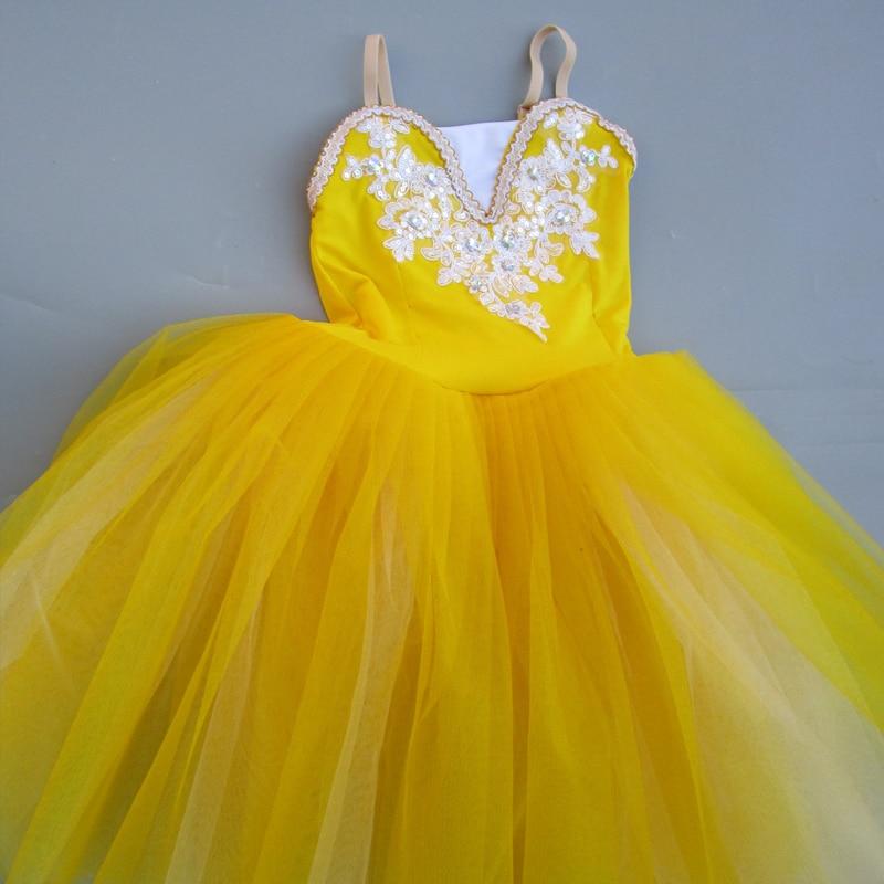 Yellow Ballet Tutu Professional Child Long Tulle Soft Pink Romantic Ballet Tutus For Girls Blue Ballerina Dress Girls Dance