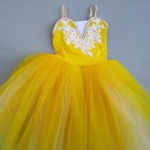 Żółta baletowa spódniczka tutu profesjonalne dziecko długi tiul delikatny róż romantyczna baletowa spódniczka tutu s dla dziewczynek niebieska sukienka baleriny dziewczyny taniec
