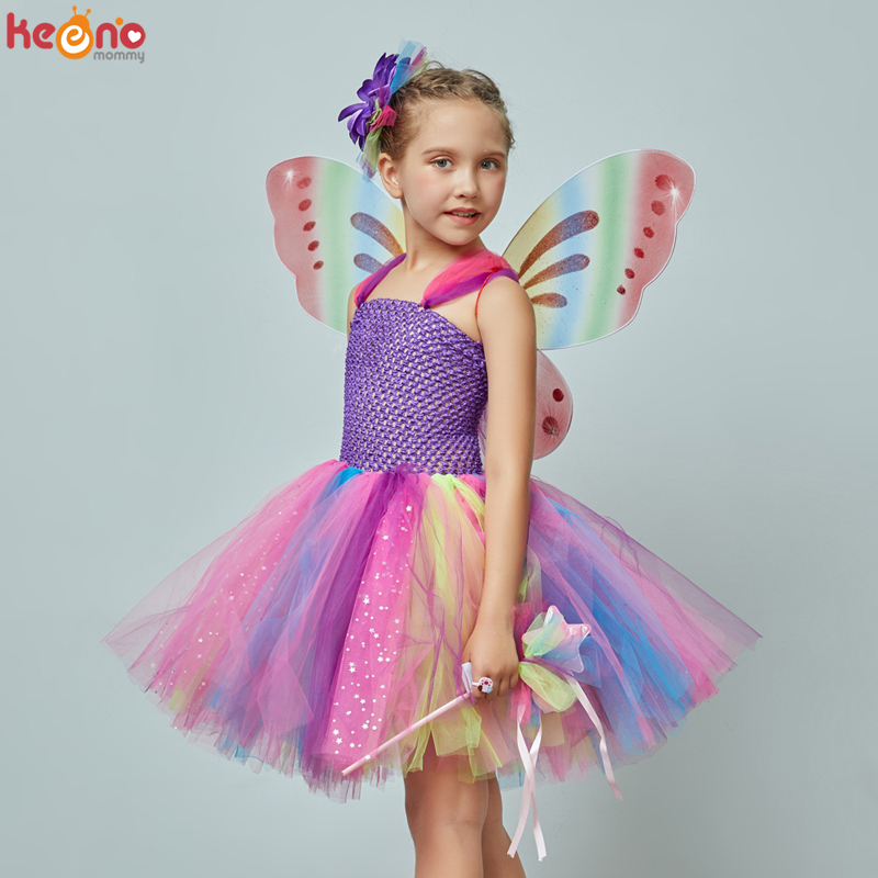Girls Butterfly Fairy Fancy Tutu Dress Wings Costume Kids Princess Birthday Party Halloween Cosplay Kids Spring Tulle Dress 3