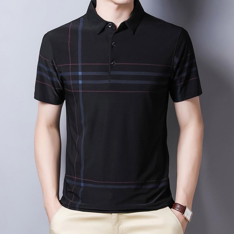 Ymwmhu Fashion Slim Men Polo Shirt Black Short Sleeve Summer Thin Shirt Streetwear Striped Male Polo Shirt for Korean Clothing 1