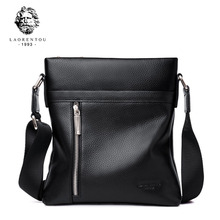 LAORENTOU Men Shoulder Bag Cow Leather Messenger Purse Genuine Crossbody Business Bags for Man