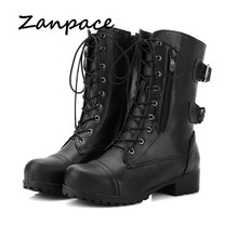 2020 New Women's Boots Winter Lace-Up Leather Women