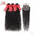 Queenlife 8-36 дюймов Волнистые 3 пучка с застежкой 4x4 кружевные застежки Реми кудрявые бразильские человеческие волосы