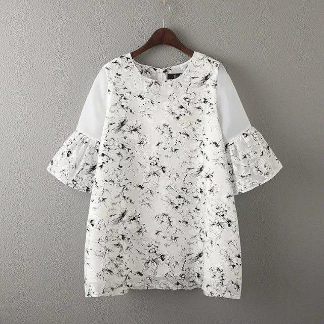 2016 Summer Korean-style Sweet Women's Organza Joint Flower Printed T-shirt Dress Loose Base Shirt 41214