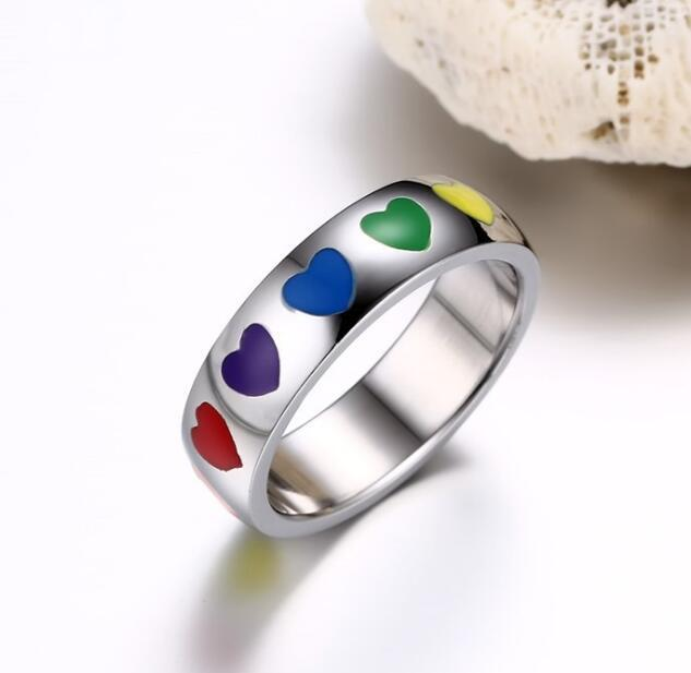 Mens Womens Rainbow Colorful LGBT Ring Stainless Steel Wedding Band Lebian & Gay Rings Drop Shipping 4